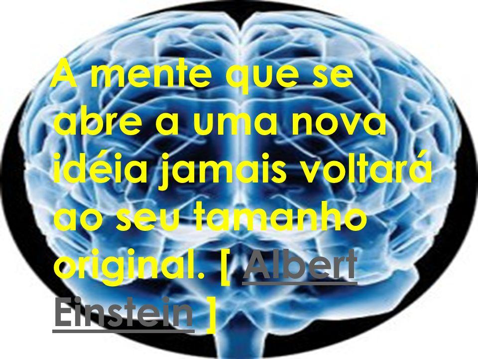 A mente que se abre a uma nova idéia jamais voltará ao seu tamanho original. [ Albert Einstein ]